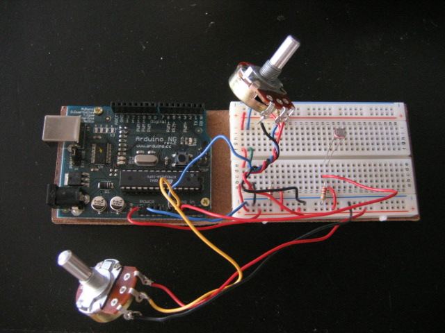 Arduino with 2 potentiometers and a photocell