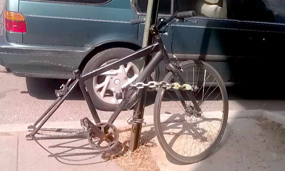 Oscar's Bike, stolen wheel and seat